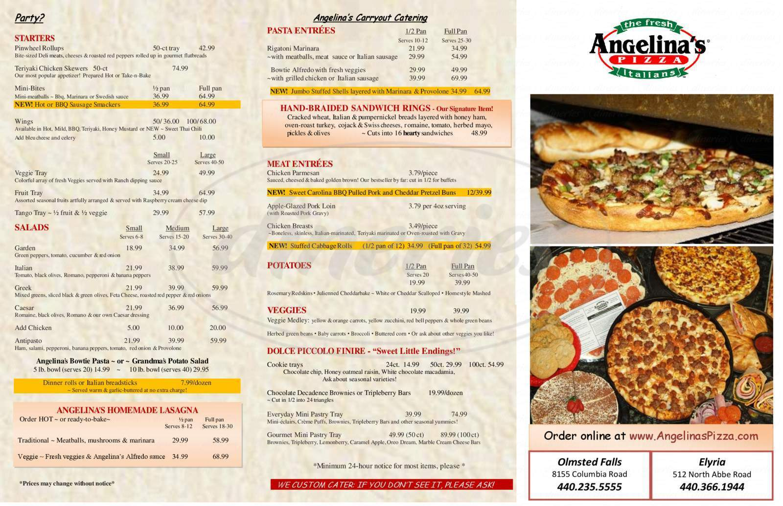 menu for Angelina's Pizza
