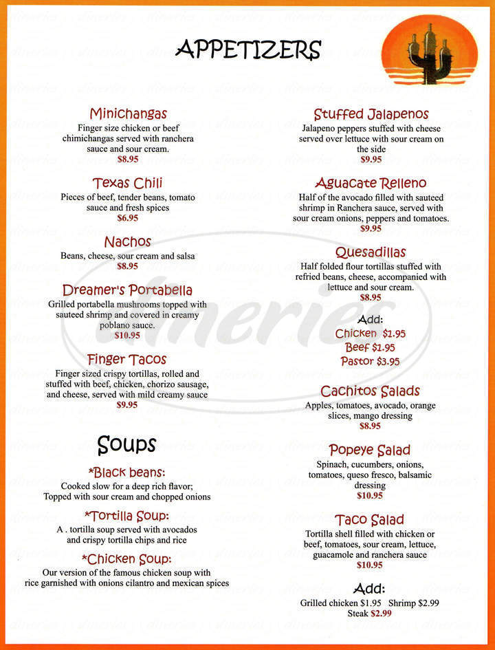 menu for Arturo's Cantina