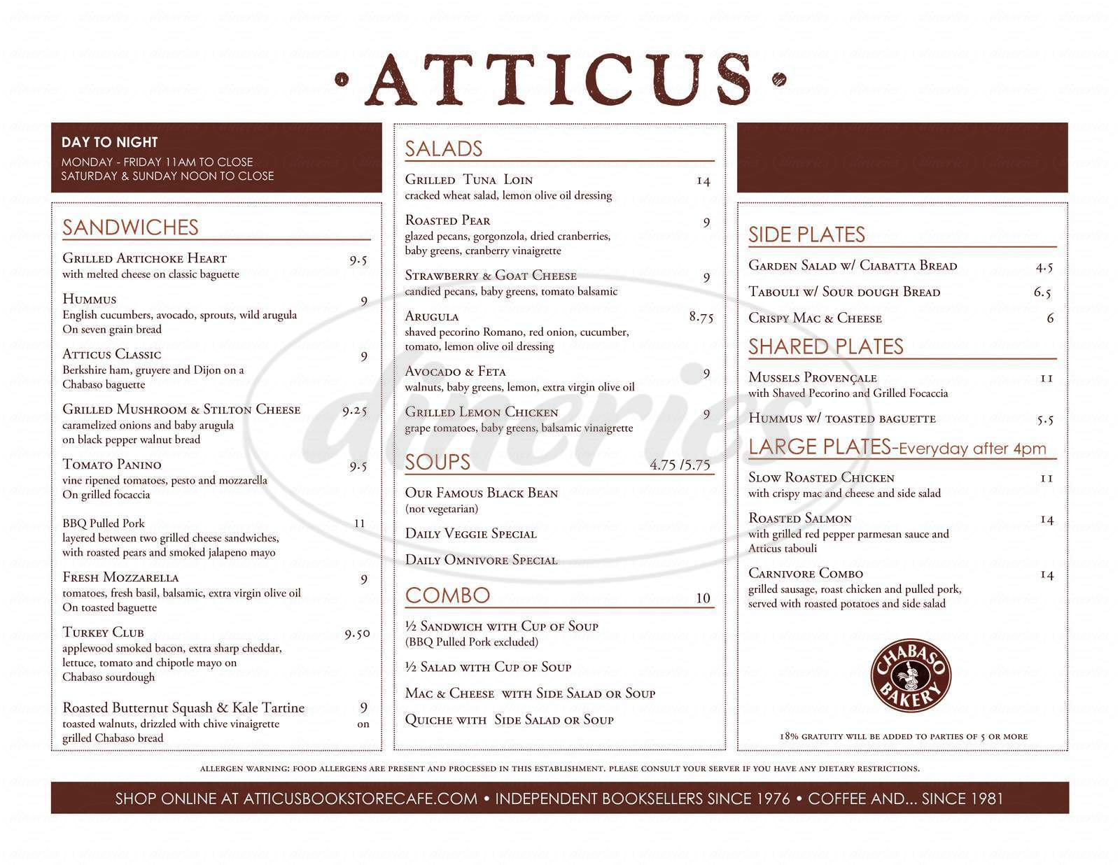 menu for Atticus