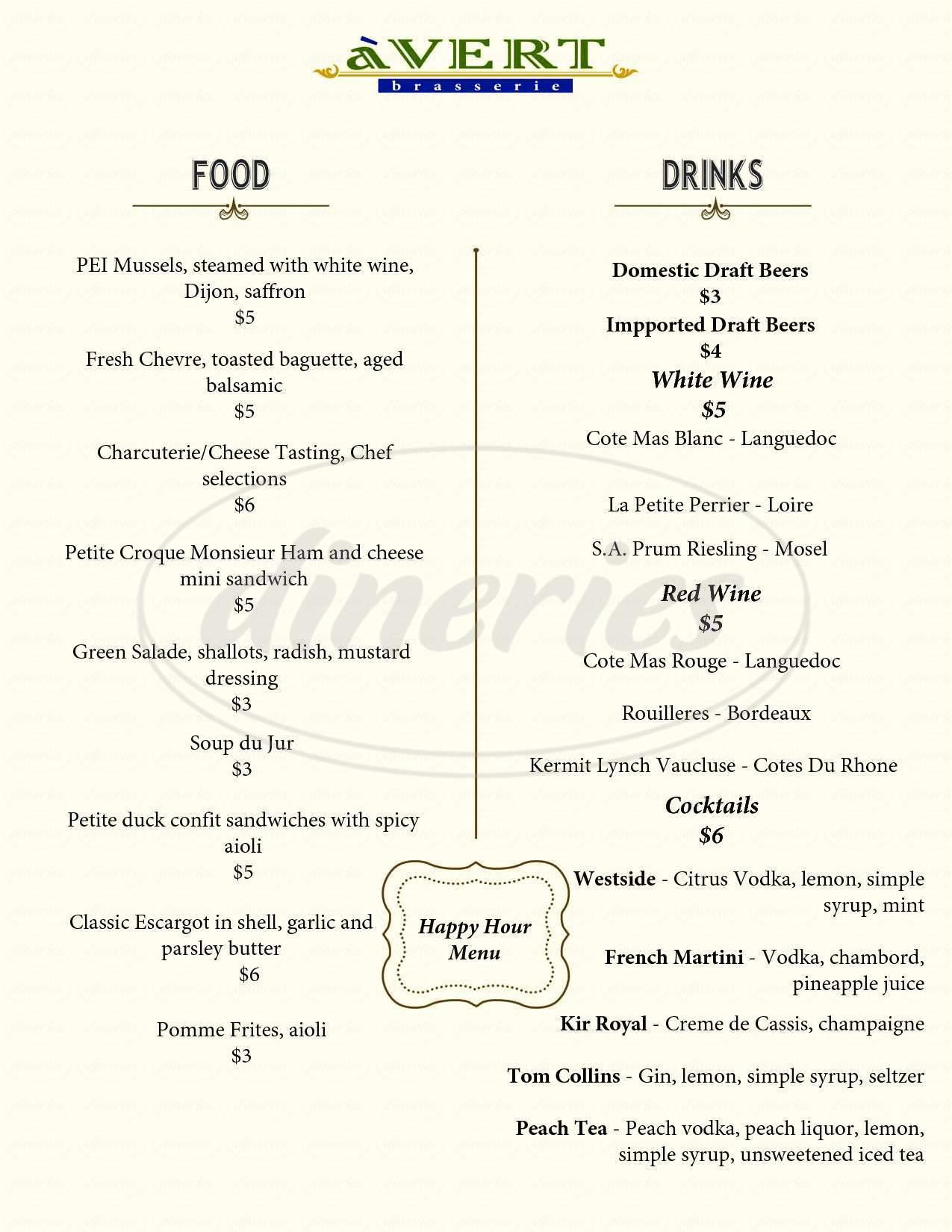menu for a'VERT Brasserie