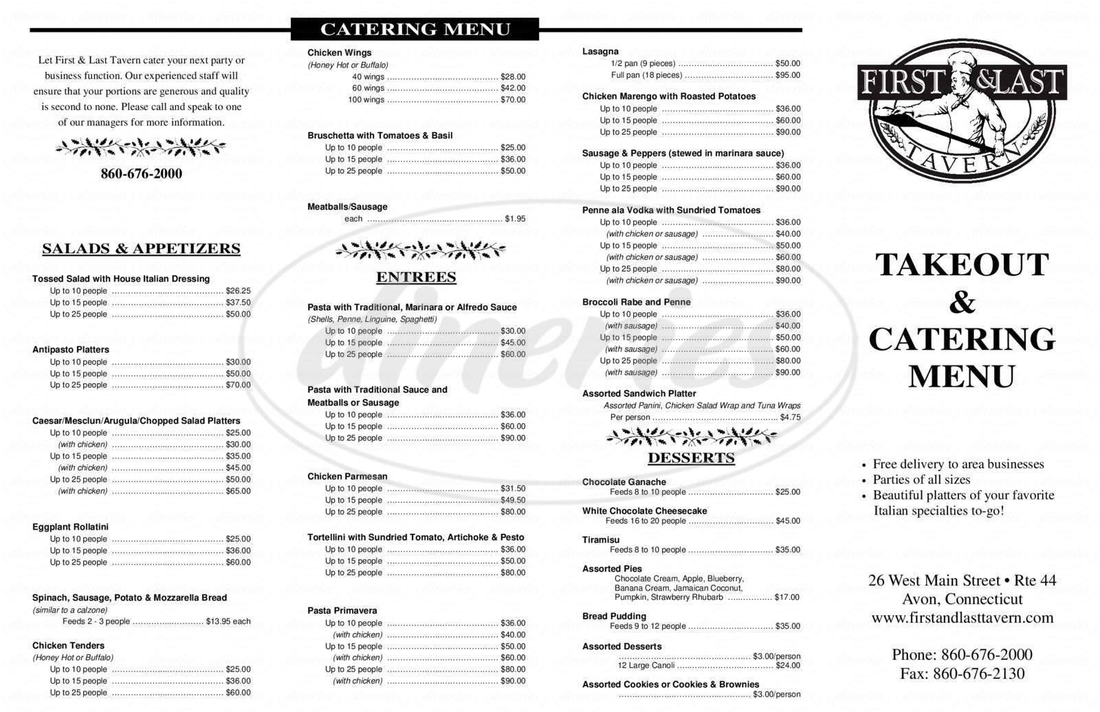 menu for First & Last Tavern