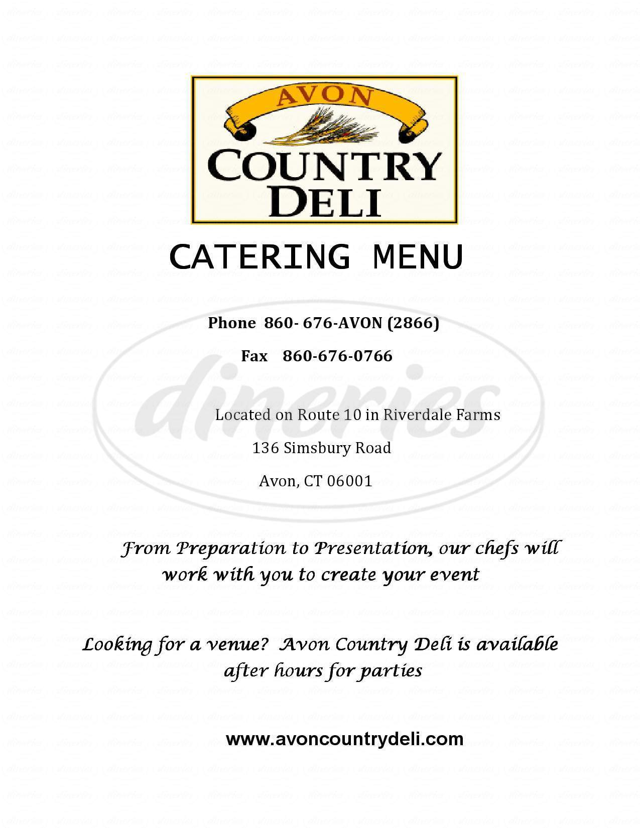 menu for Avon Country Deli