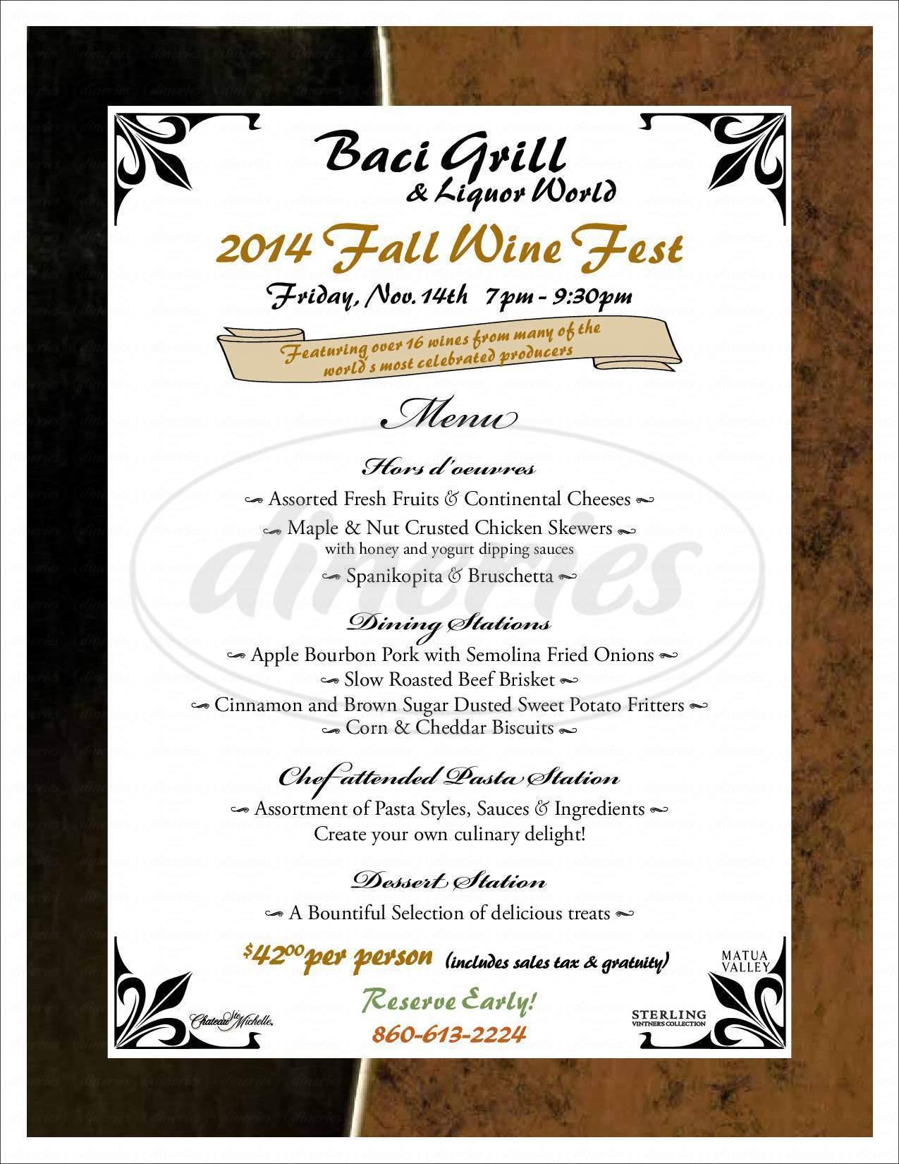 menu for Baci Grill