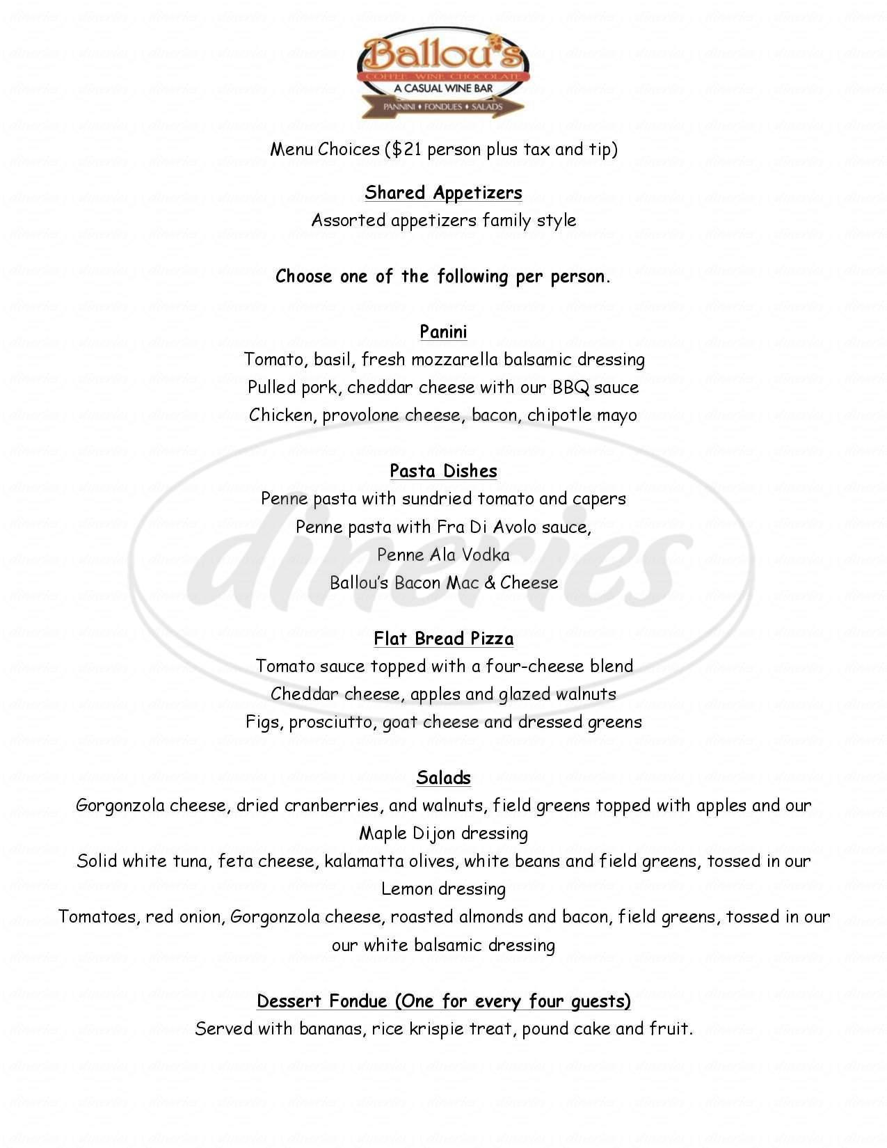 menu for Ballou's Wine Bar