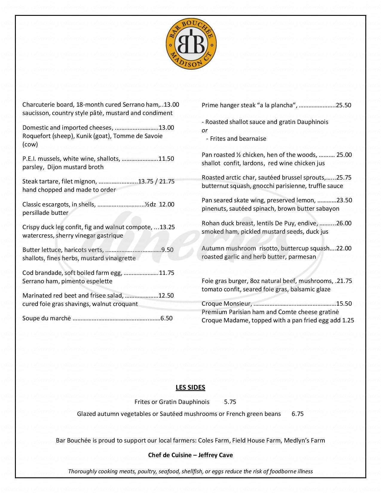 menu for Bar Bouchee
