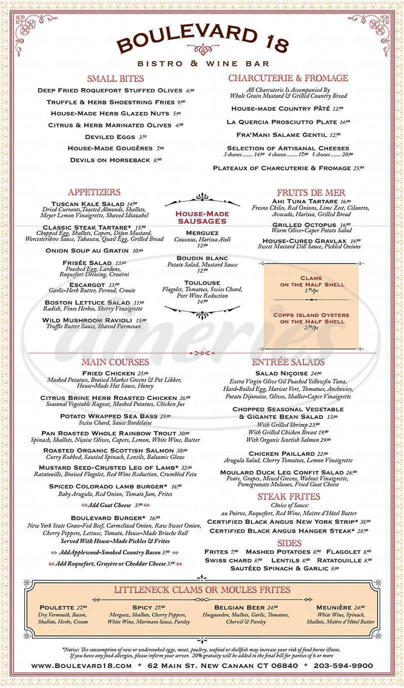 menu for Boulevard 18