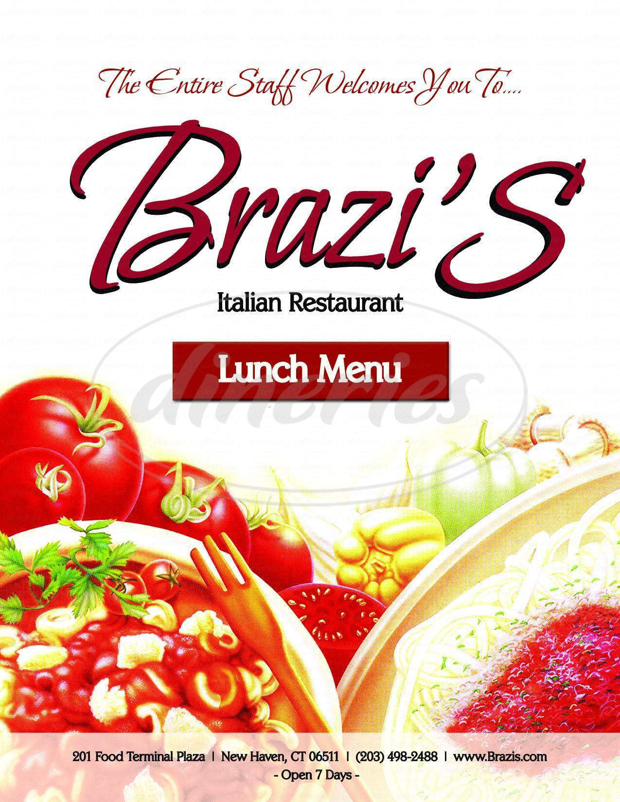 menu for Brazi's Restaurant