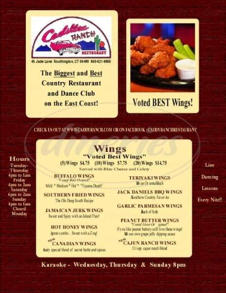 menu for Cadillac Ranch Restaurant