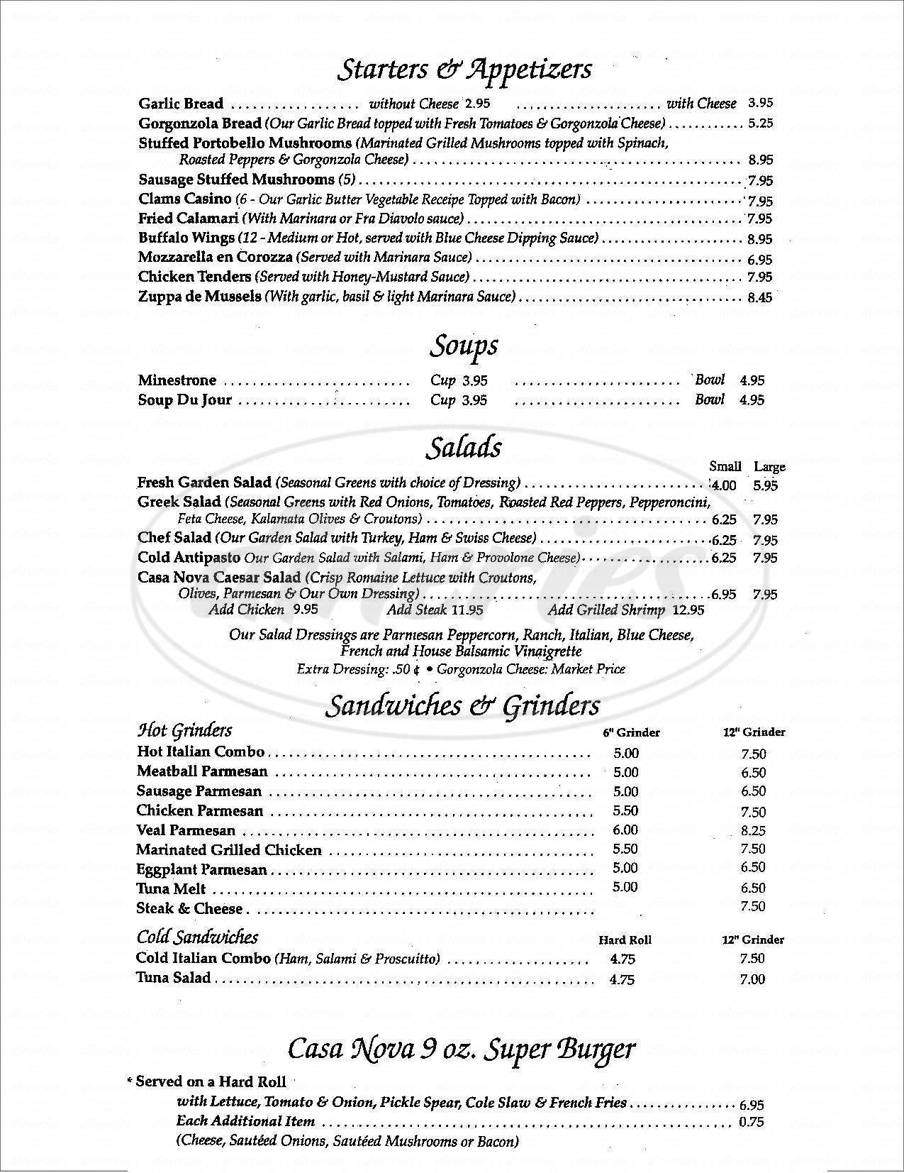 menu for Casa Nova Ristorante