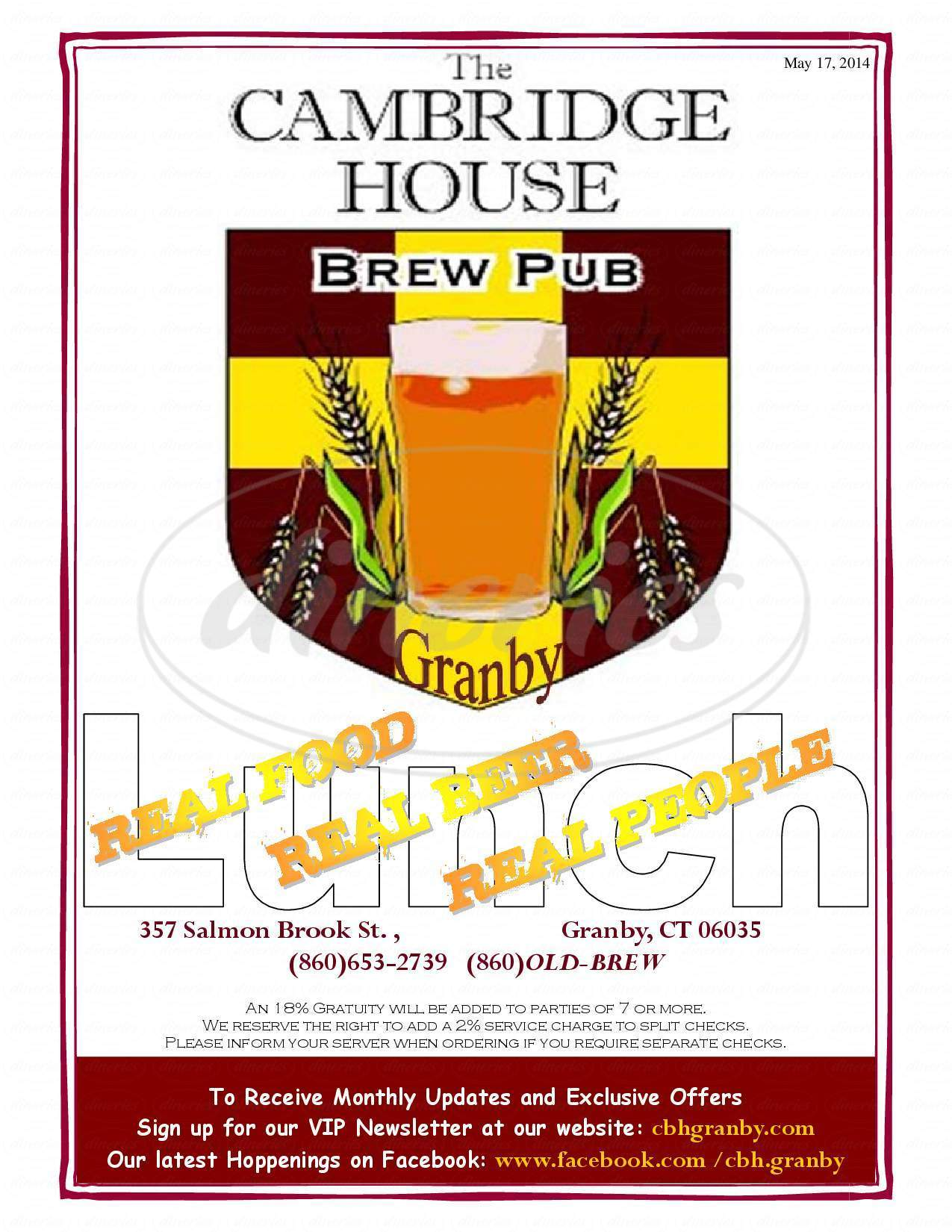 menu for The Cambridge House Brew Pub