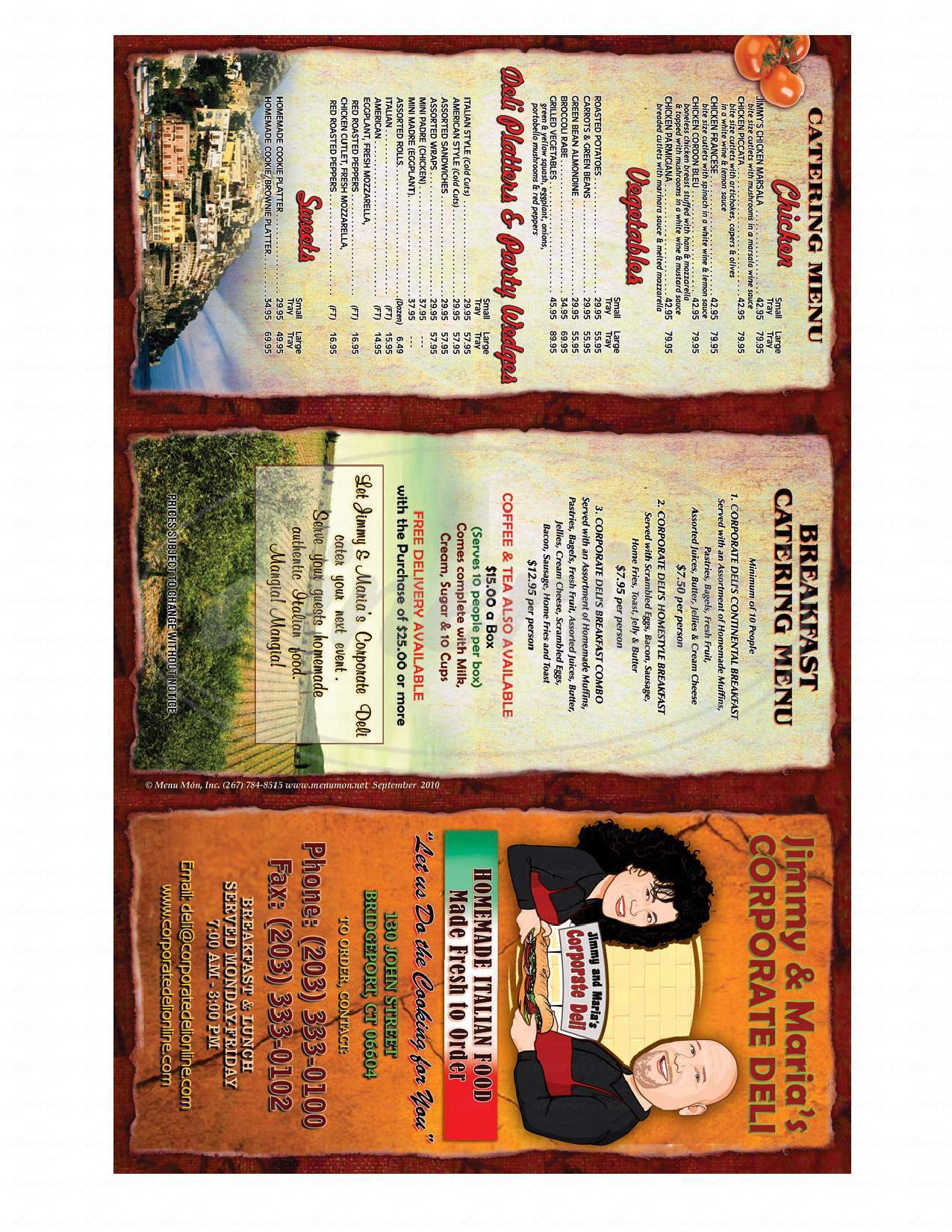 menu for Corporate Deli & Grille