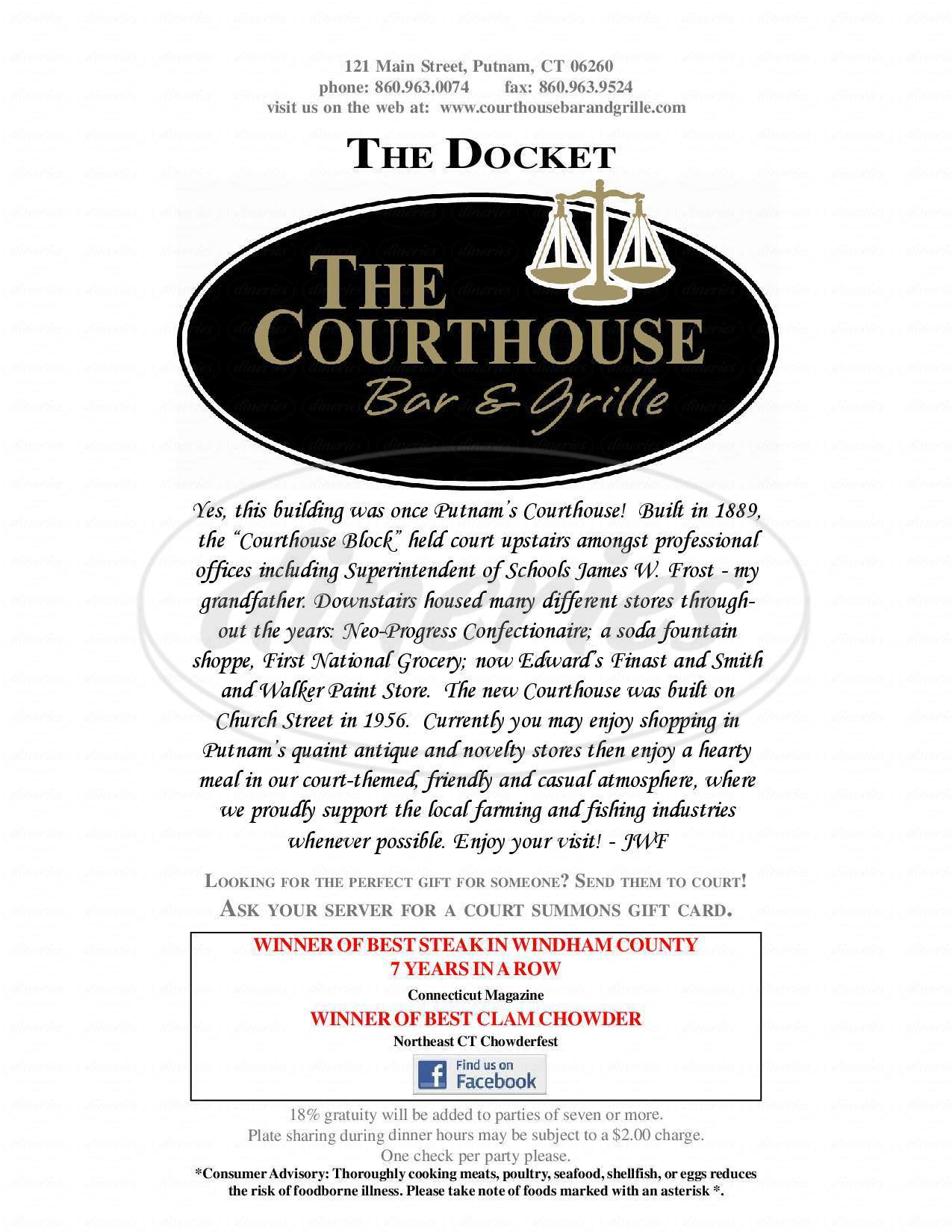 menu for Courthouse Bar and Grille
