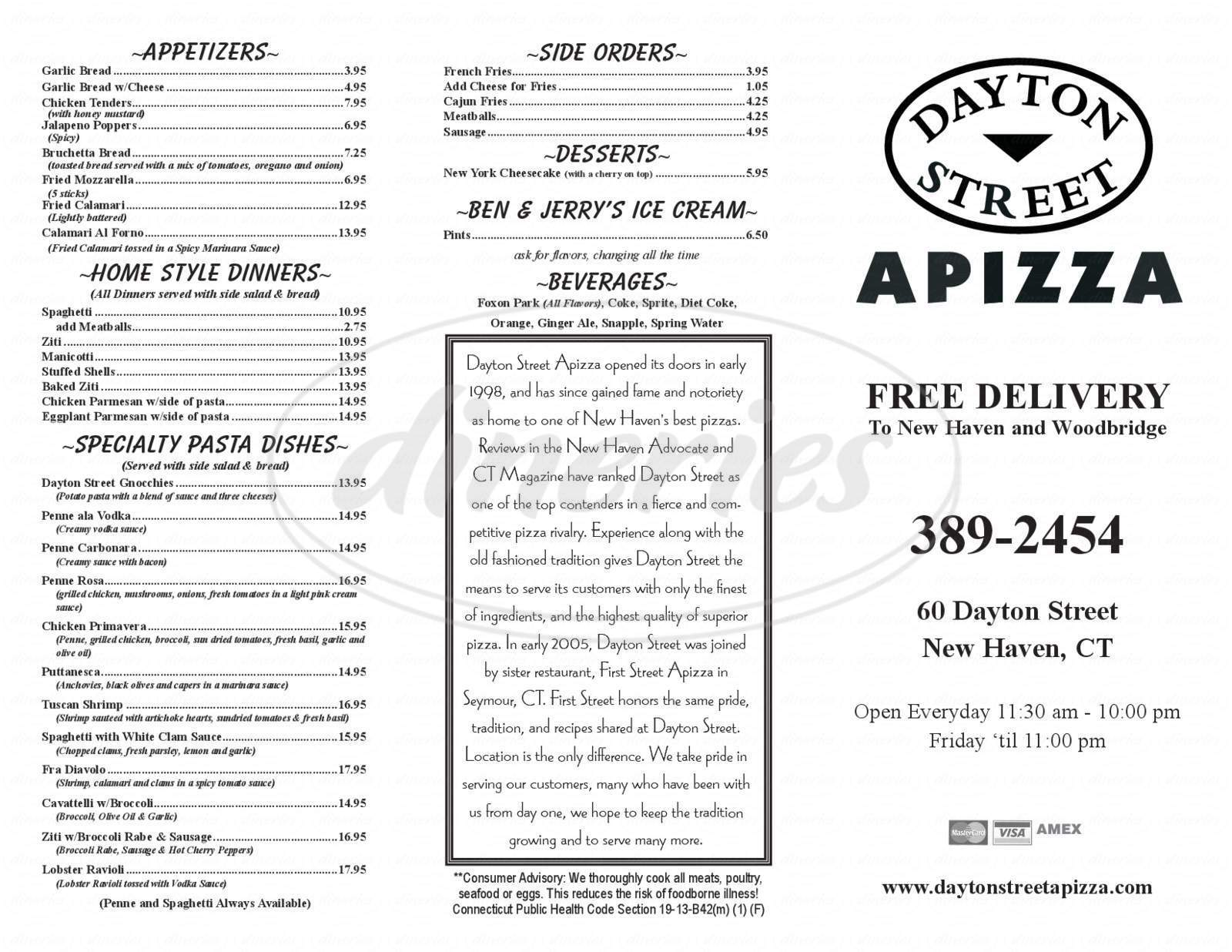 menu for Dayton Street Apizza