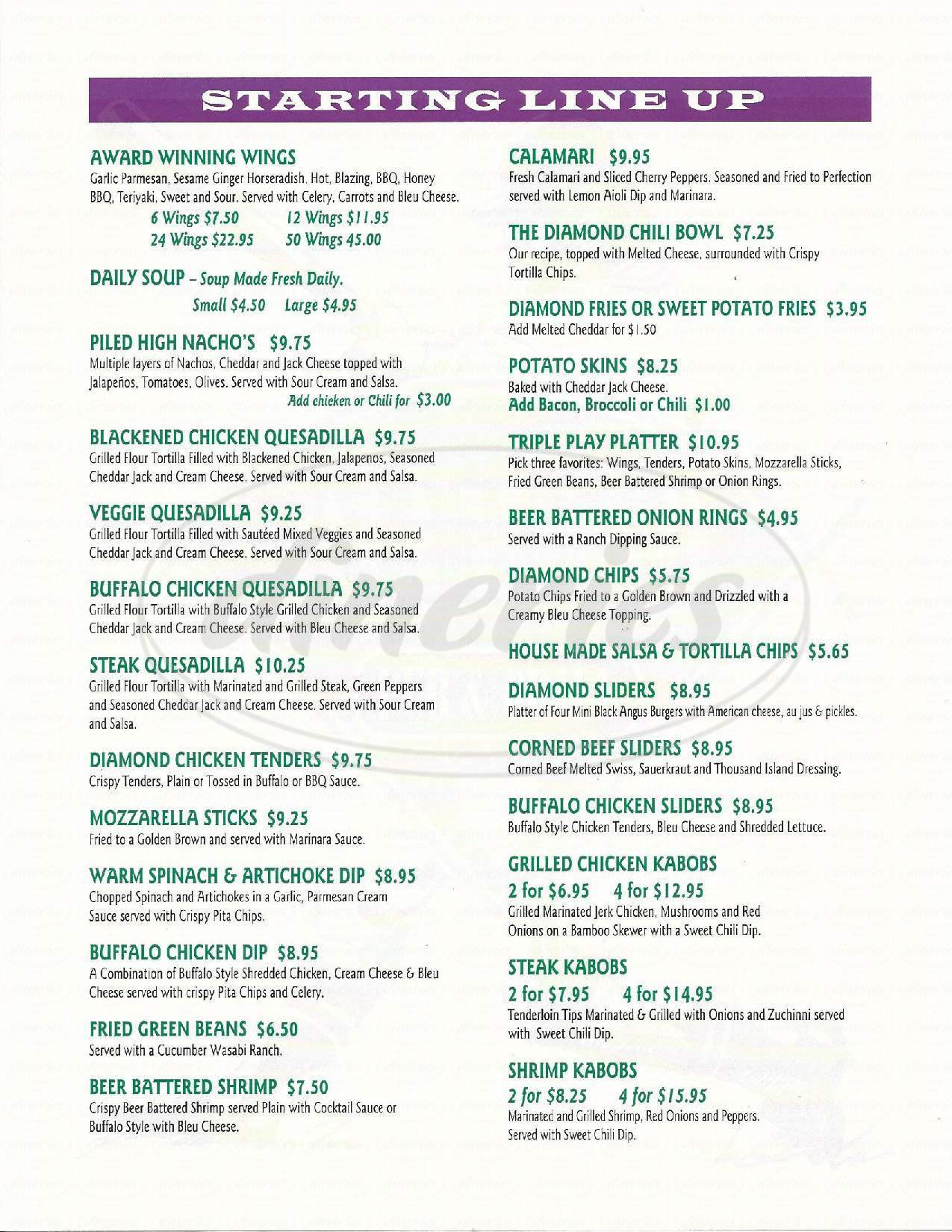menu for The Diamond Pub & Grill