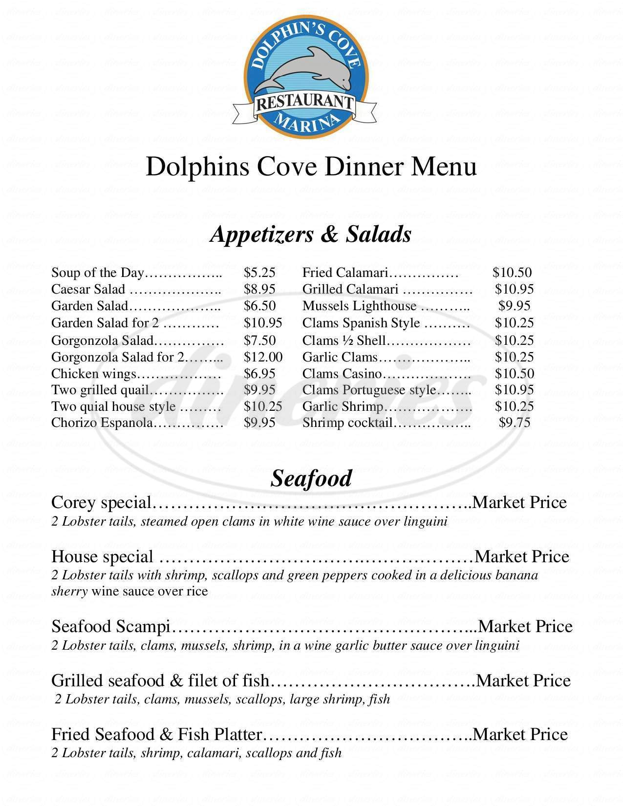 menu for Dolphin's Cove Marina
