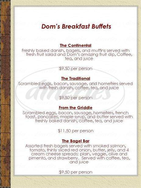menu for Dom's Broad Street Eatery
