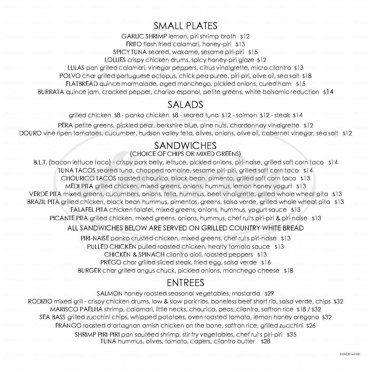 menu for Douro Restaurant Bar