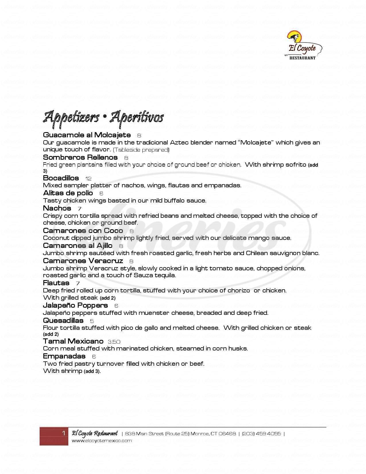 menu for El Coyote Restaurant