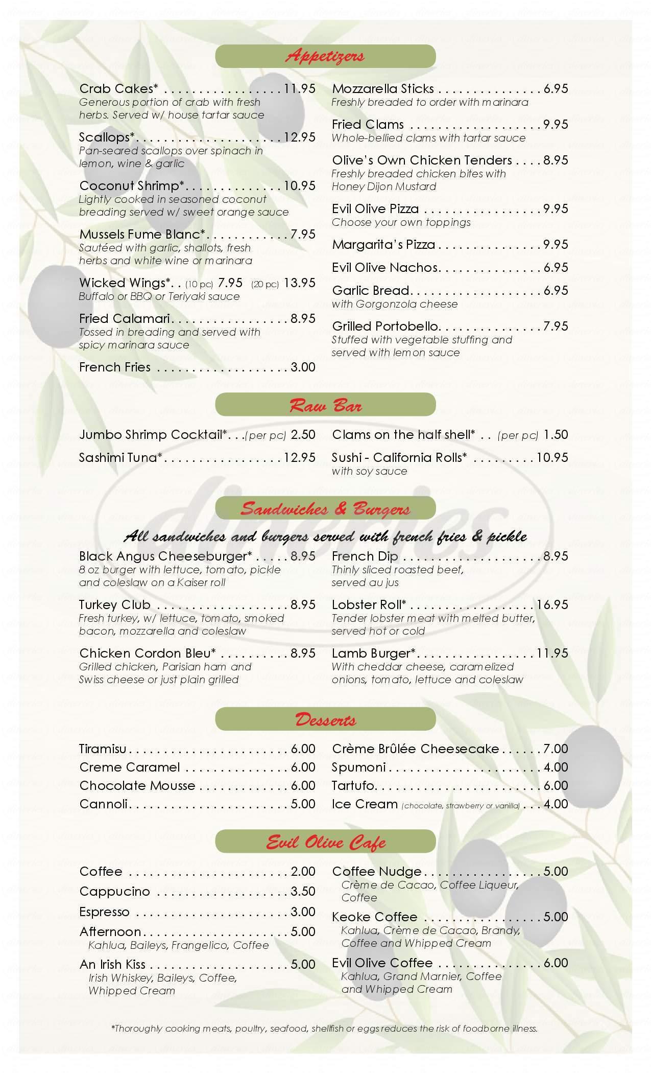 menu for Evil Olive Cafe
