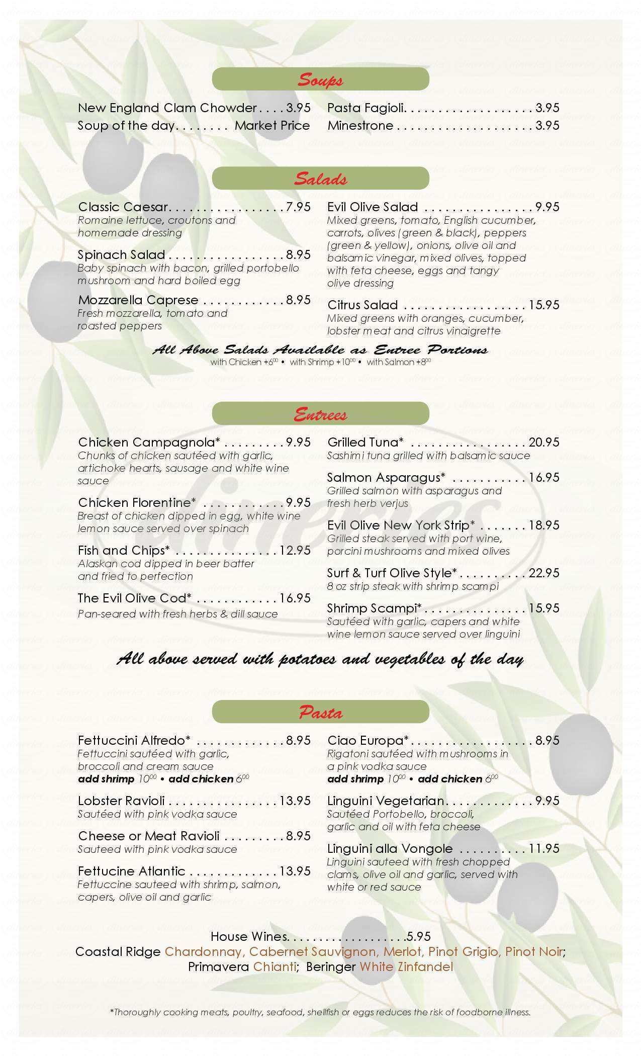 menu for Evil Olive Cafe