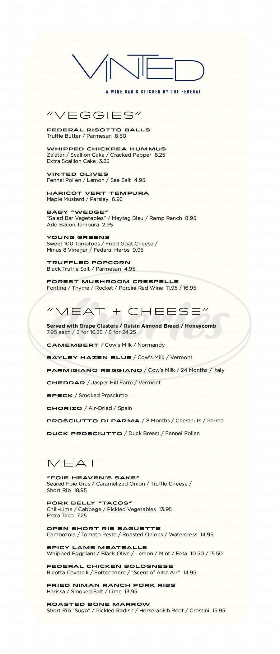 menu for Vinted Wine Bar & Kitchen