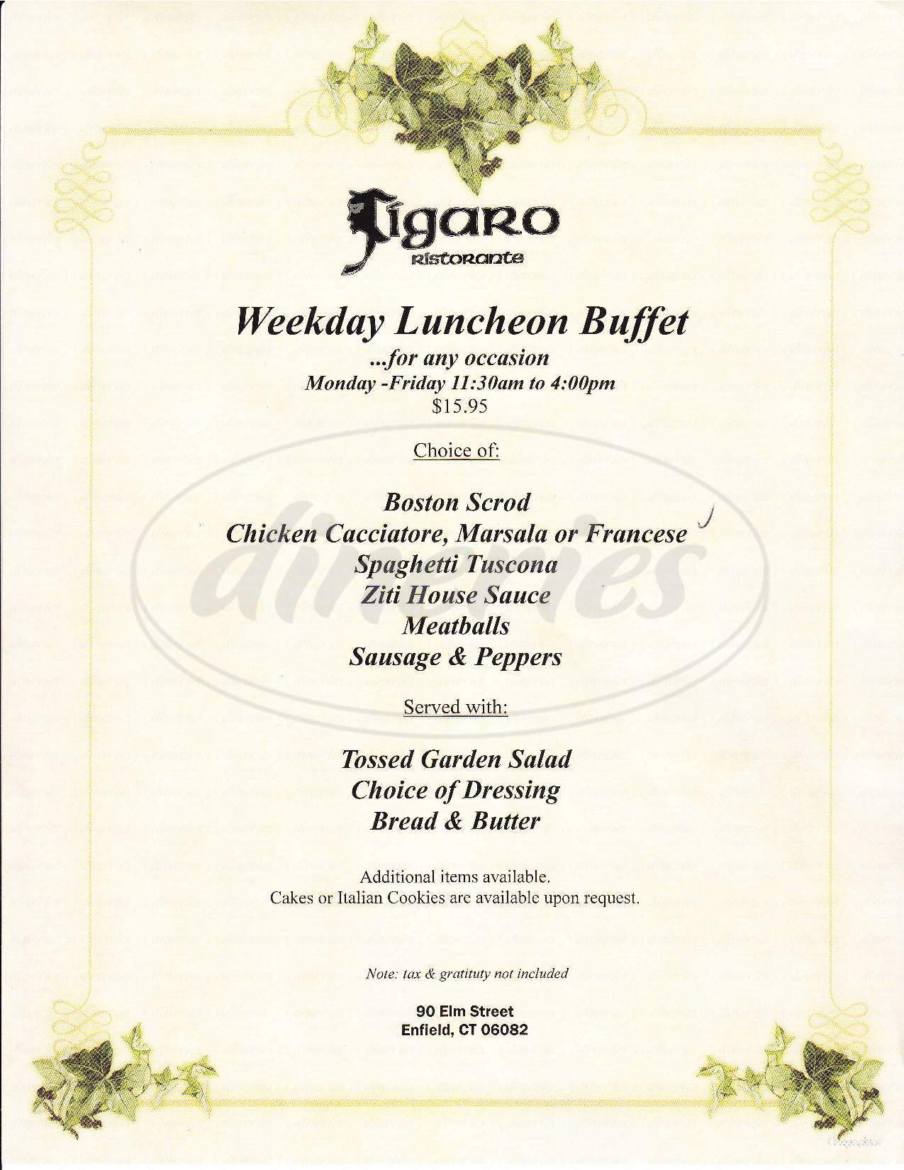 menu for Figaro's Ristorante