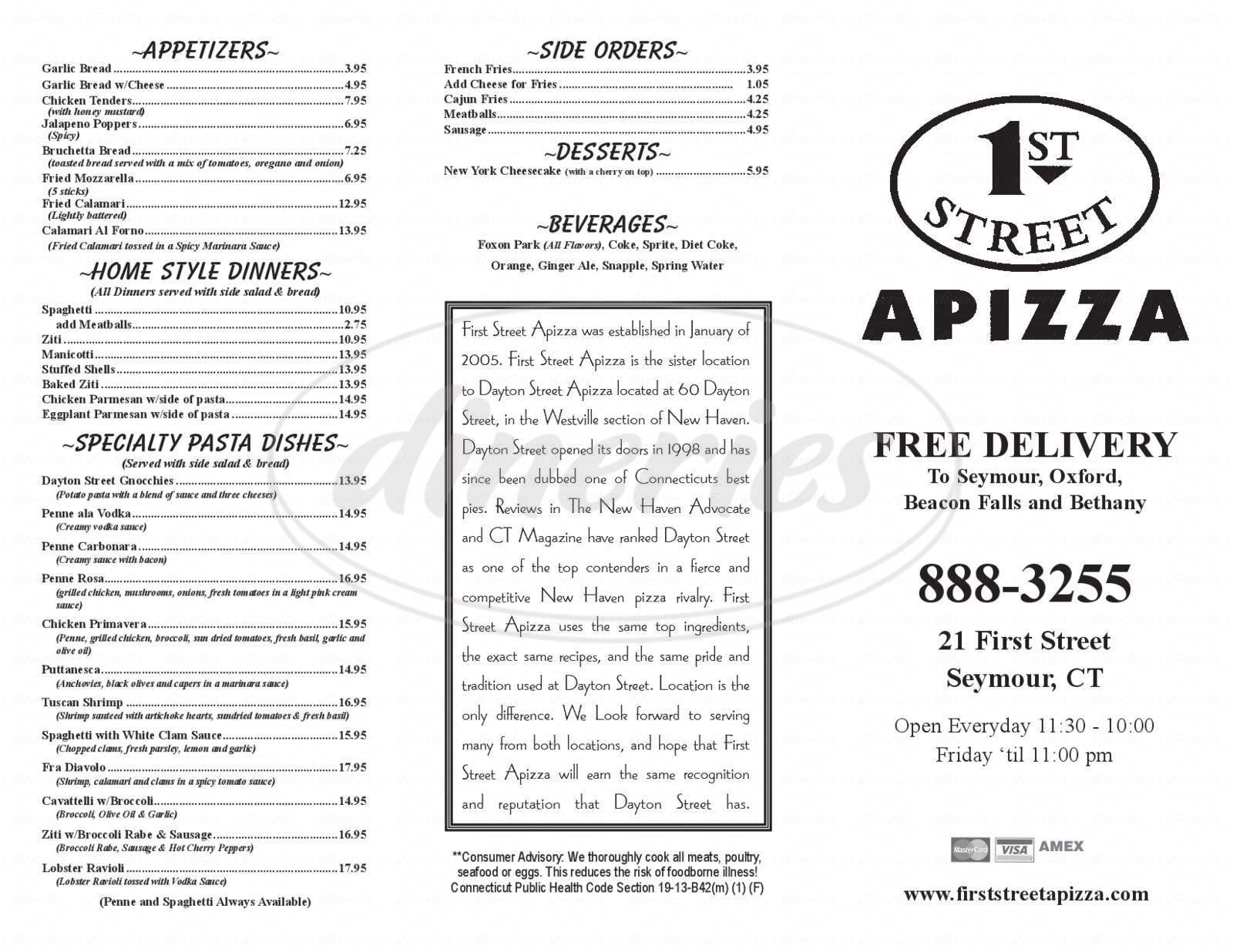 menu for First Street Apizza
