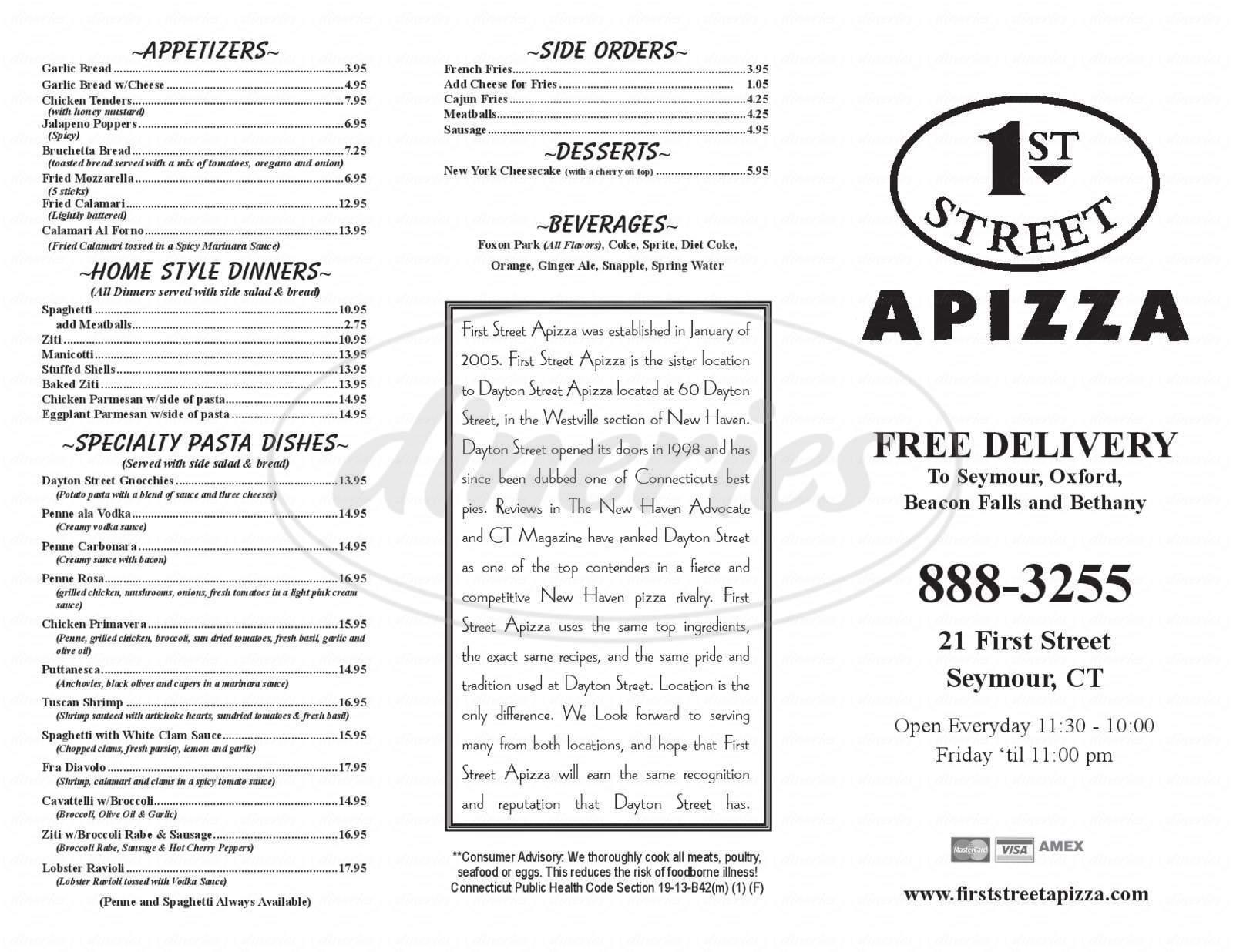 Big menu for First Street Apizza, Seymour