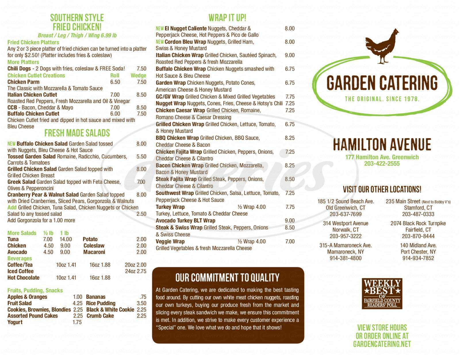 menu for Garden Catering