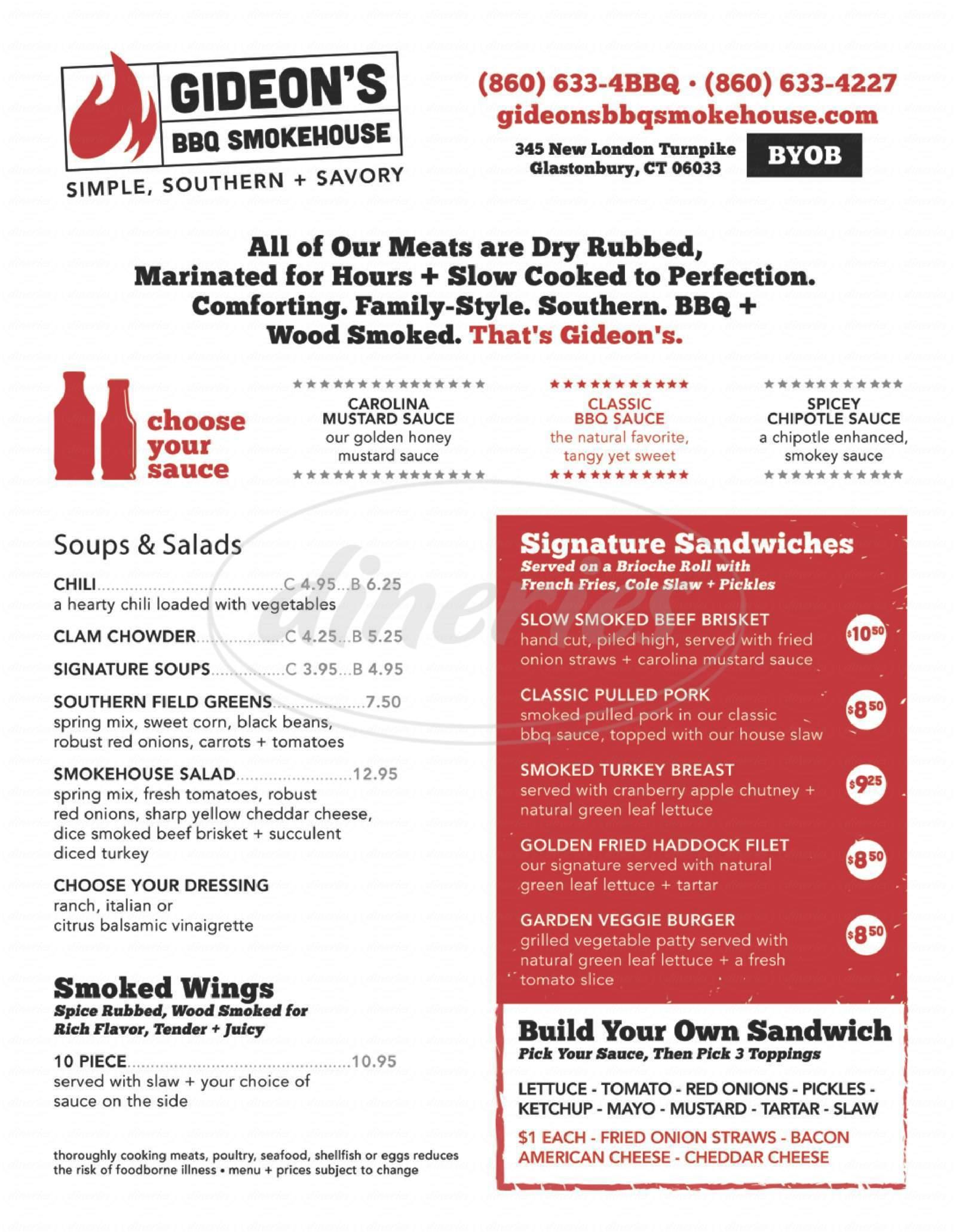 menu for Gideon's BBQ Smokehouse