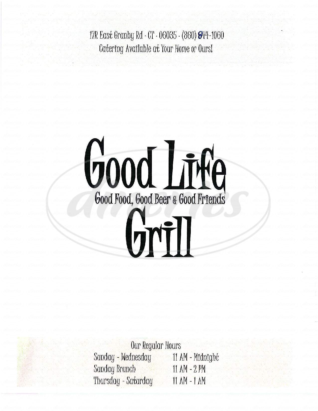 menu for Good Life Grill
