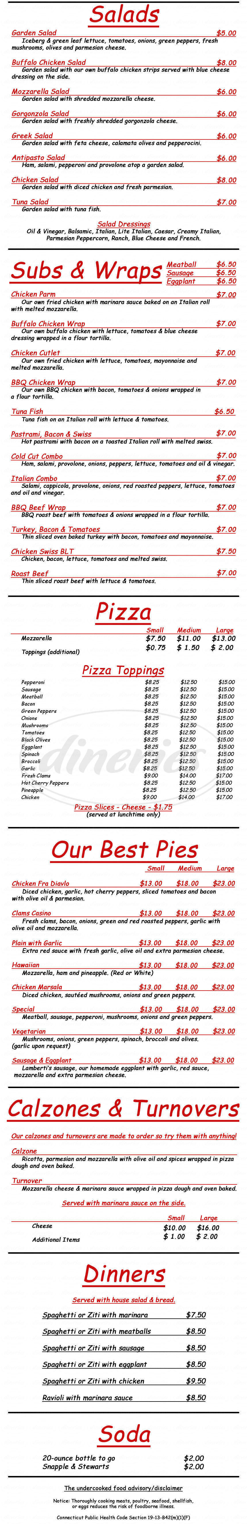 menu for Paul & Eddy's Pizza