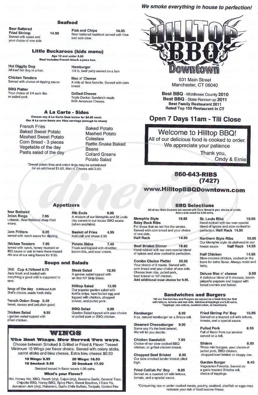 menu for Hilltop Barbecue