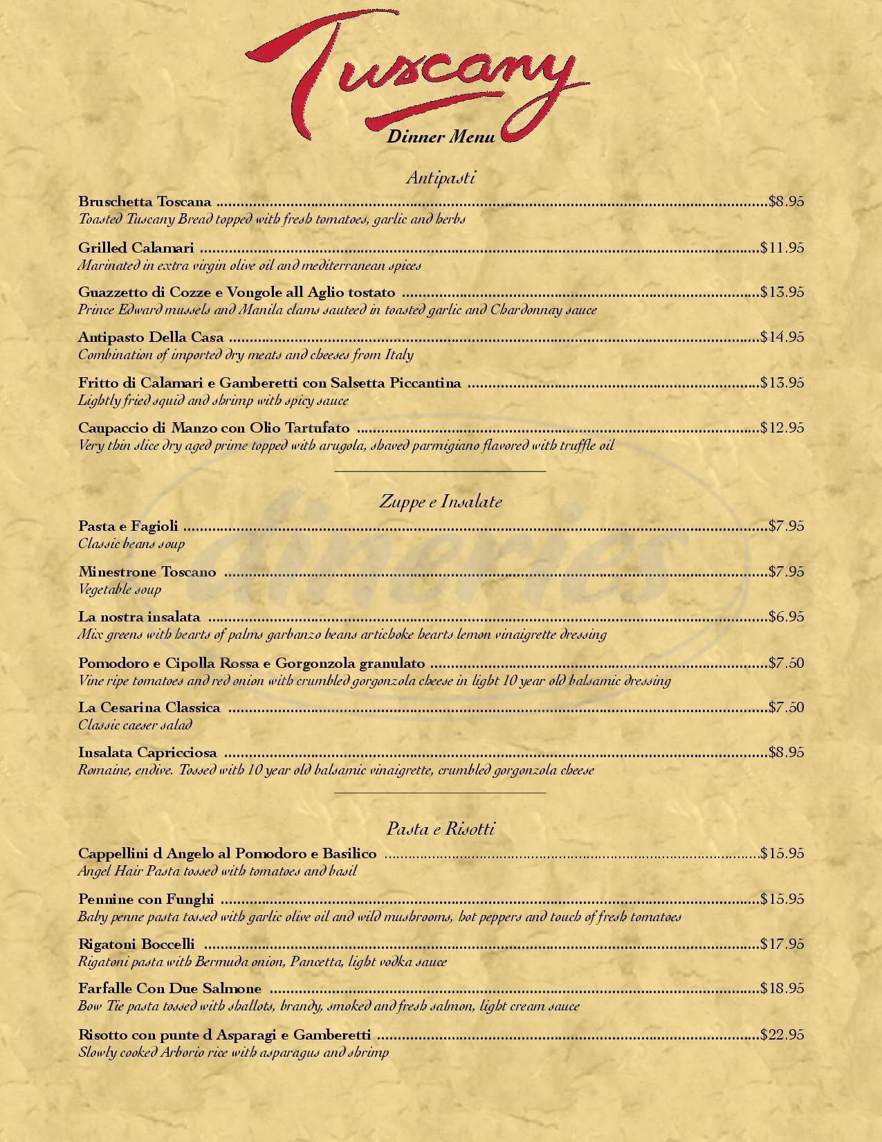 menu for Tuscany Ristorante
