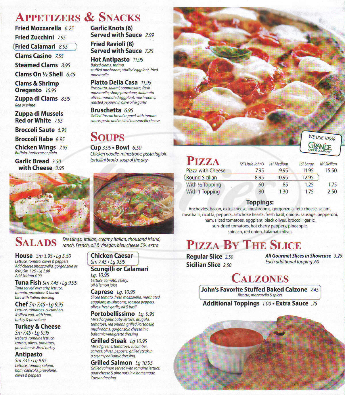 menu for John's Best Pizza