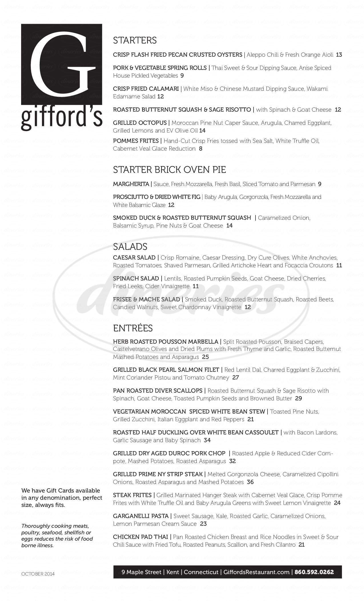 menu for Gifford's