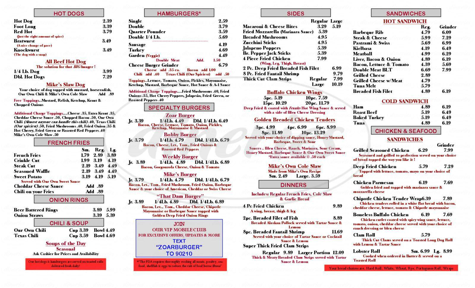 menu for Lake Zoar Drive-In