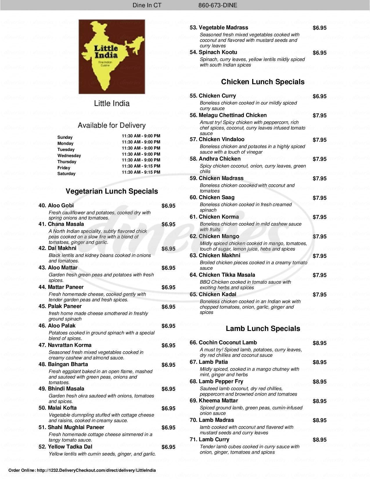 menu for Little India
