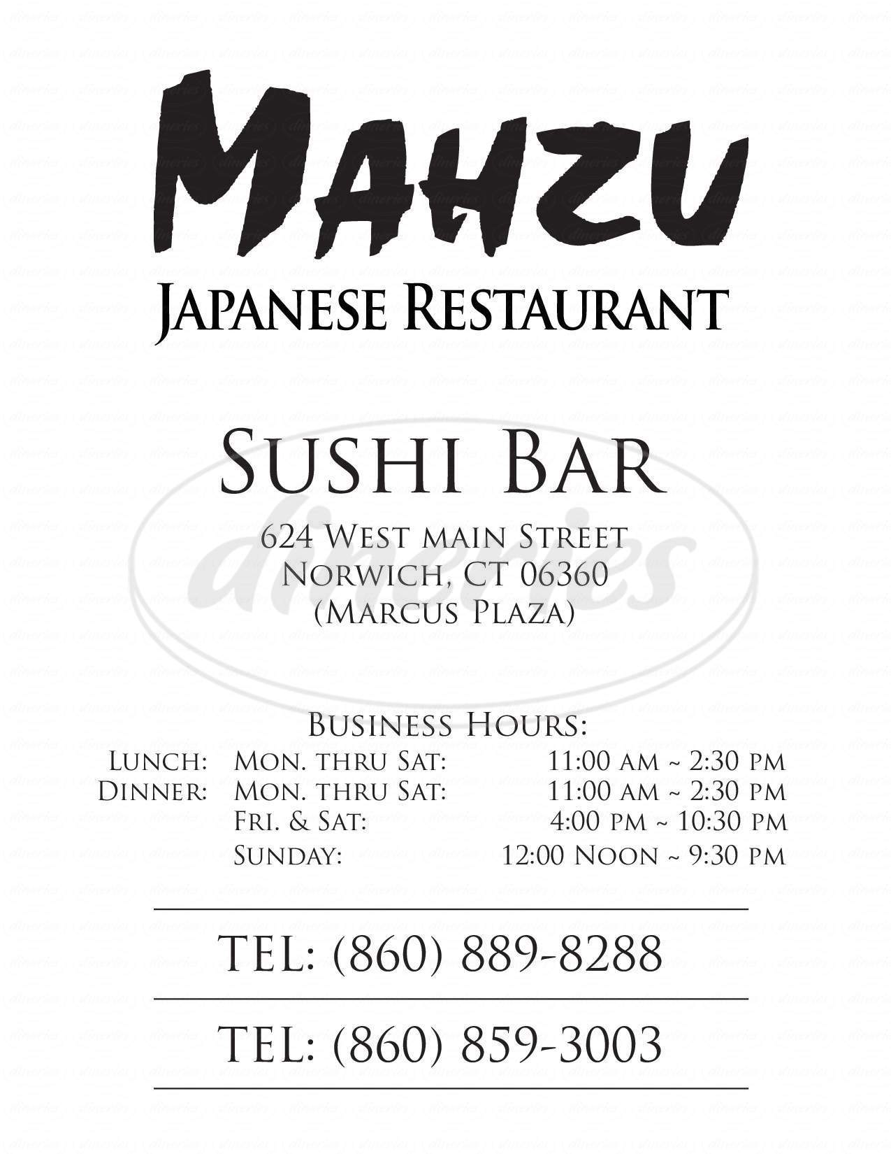 menu for Mahzu Sushi Bar & Restaurant