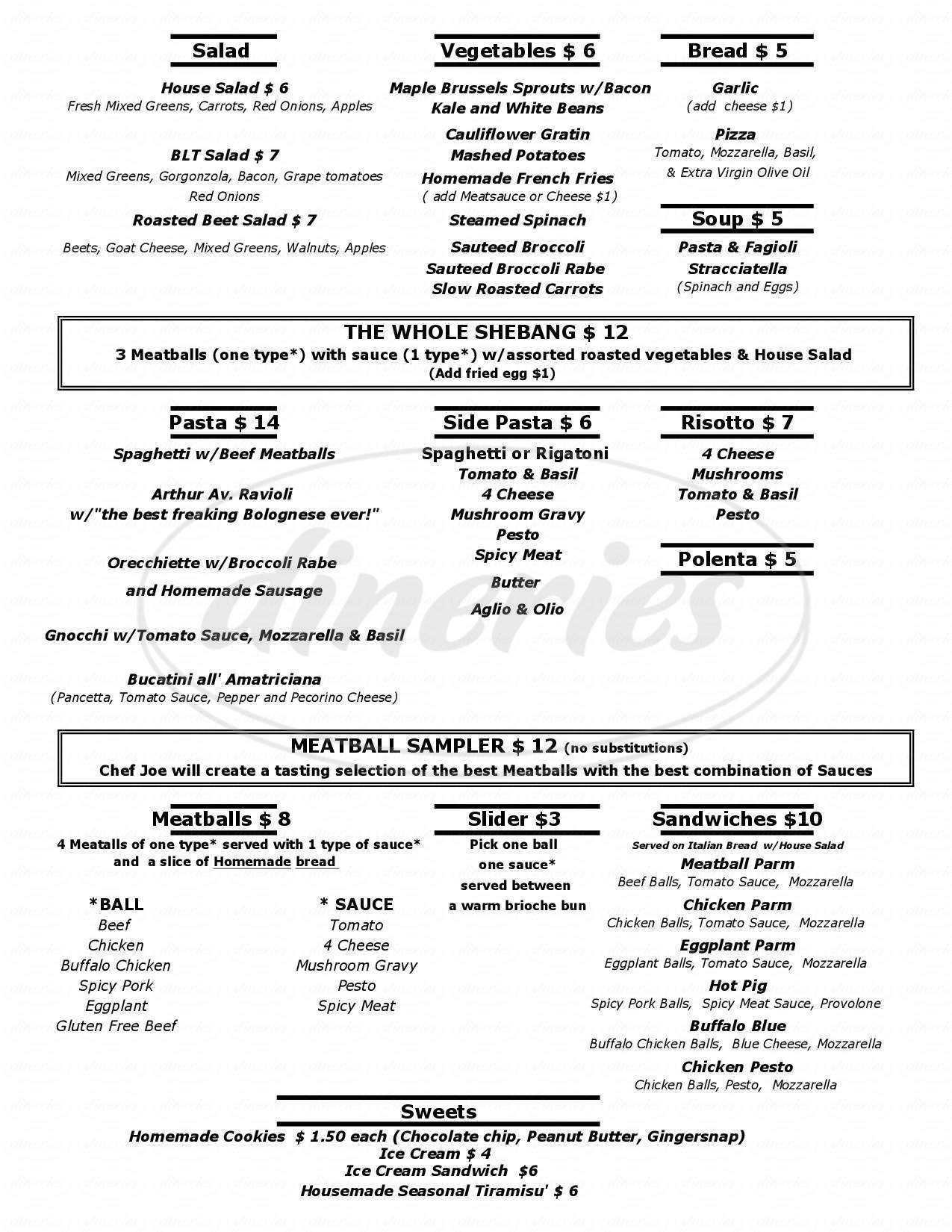 menu for Meatball & Company