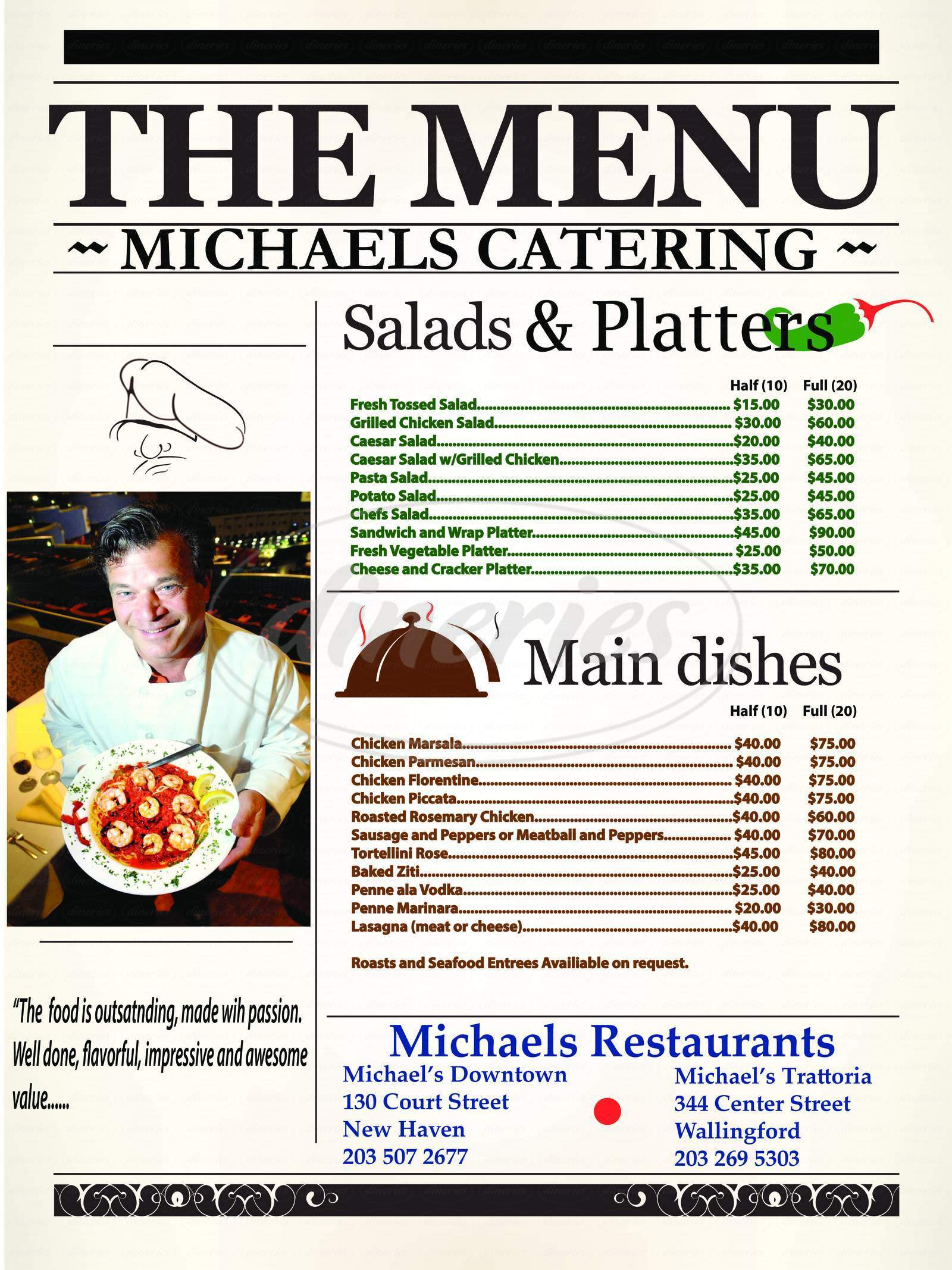 menu for Michaels Downtown Restaurant