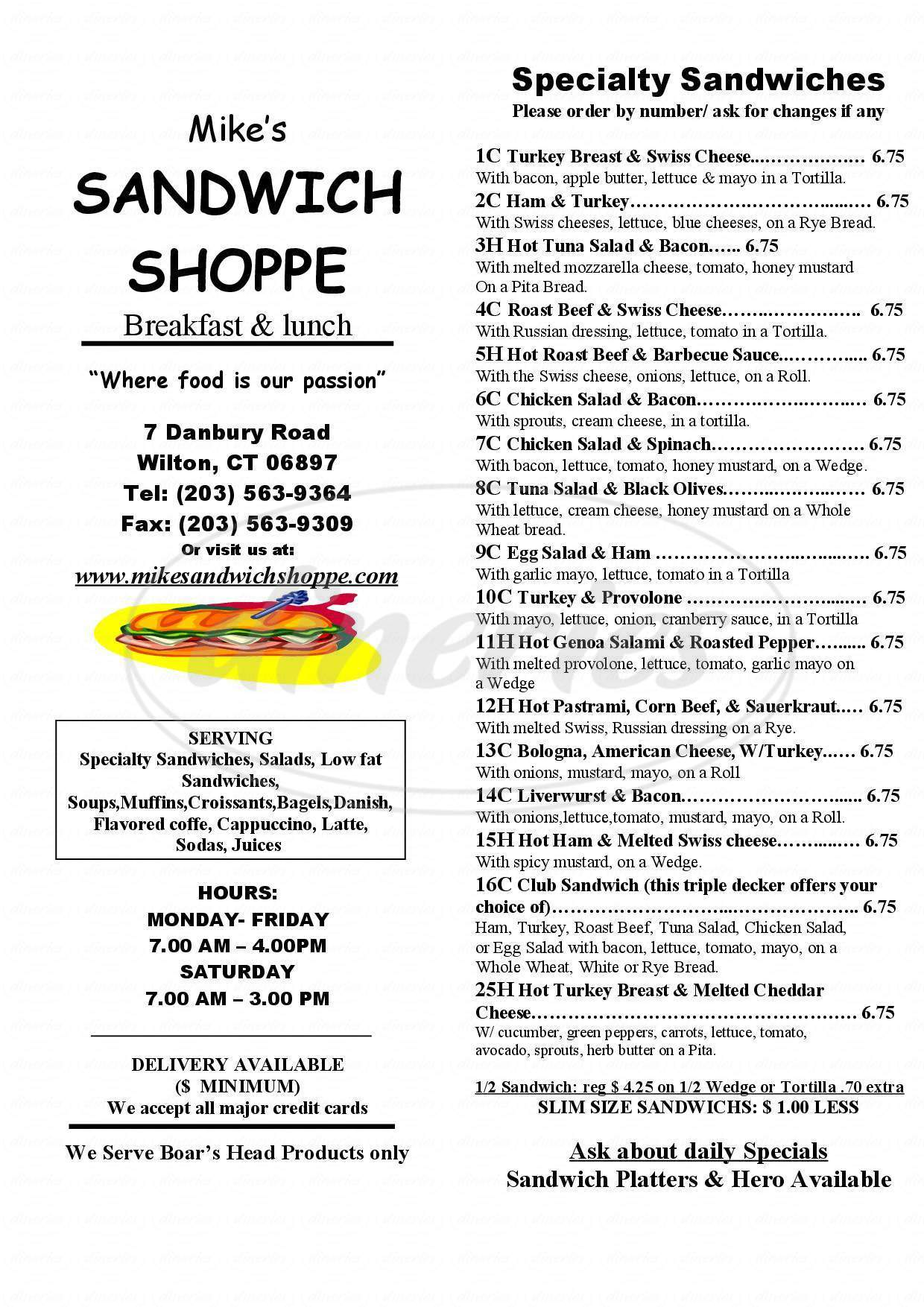 menu for The Sandwich Shoppe