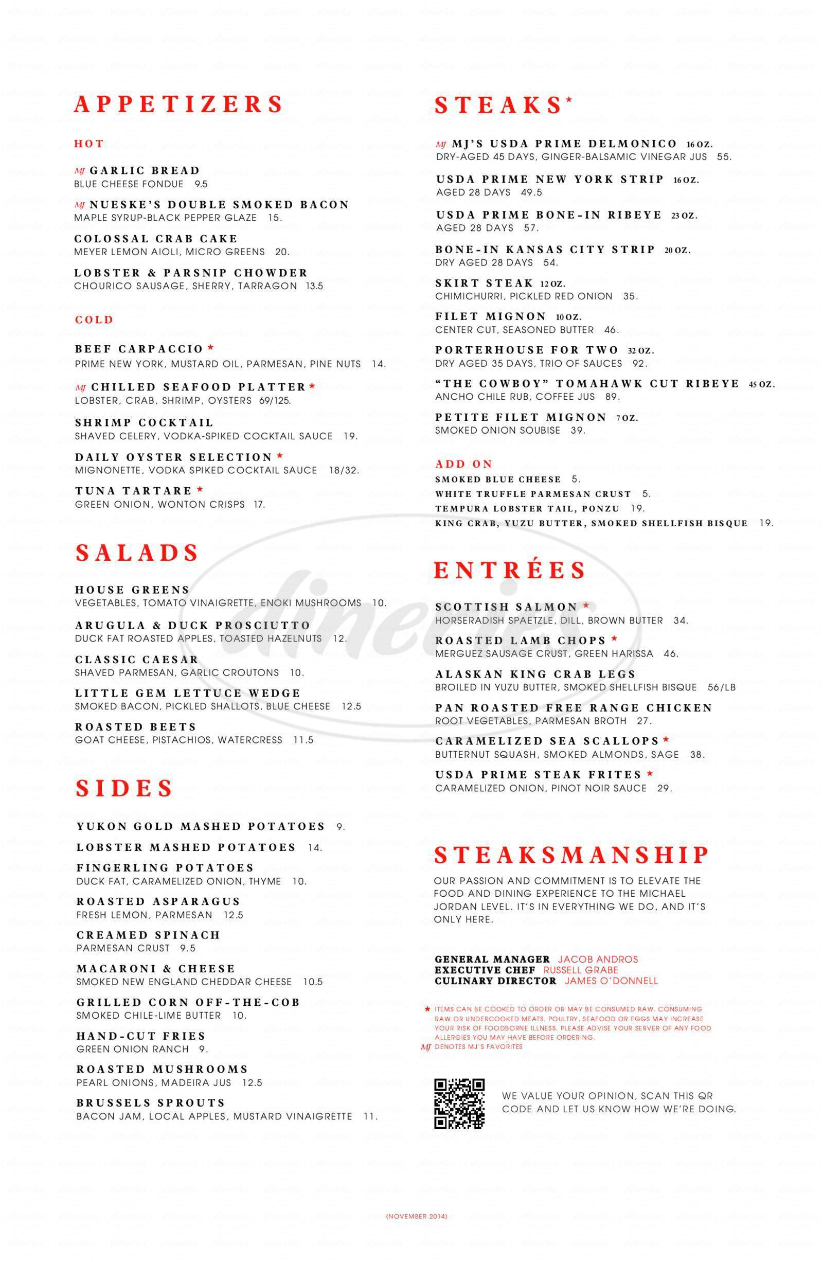 menu for Michael Jordan's Steakhouse
