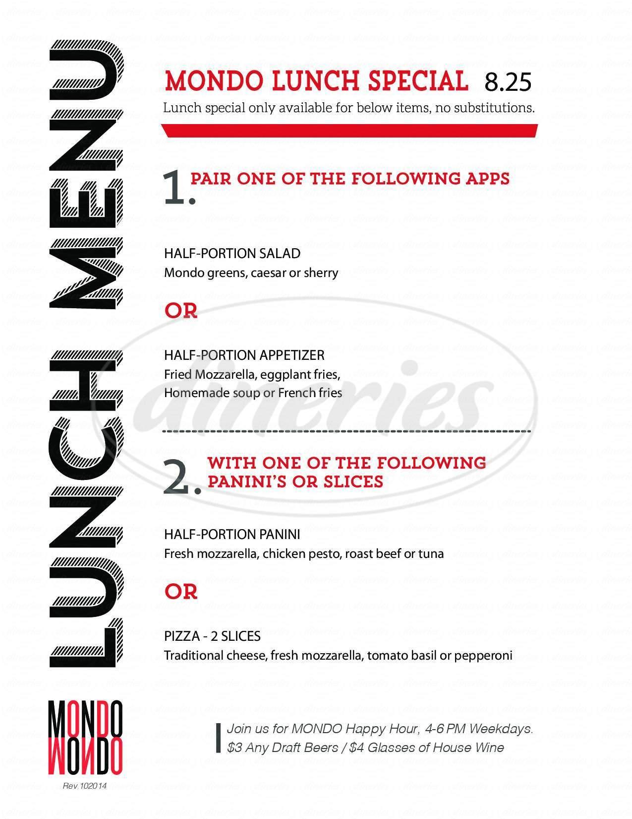 menu for Mondo