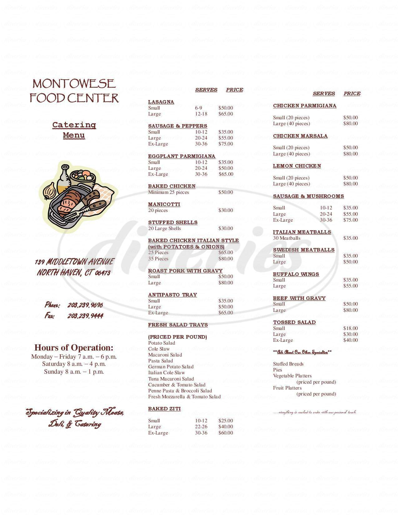 menu for Montowese Food Center