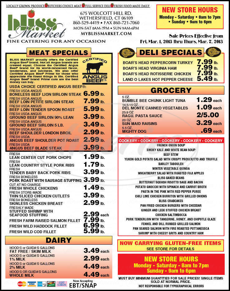 menu for Bliss Market