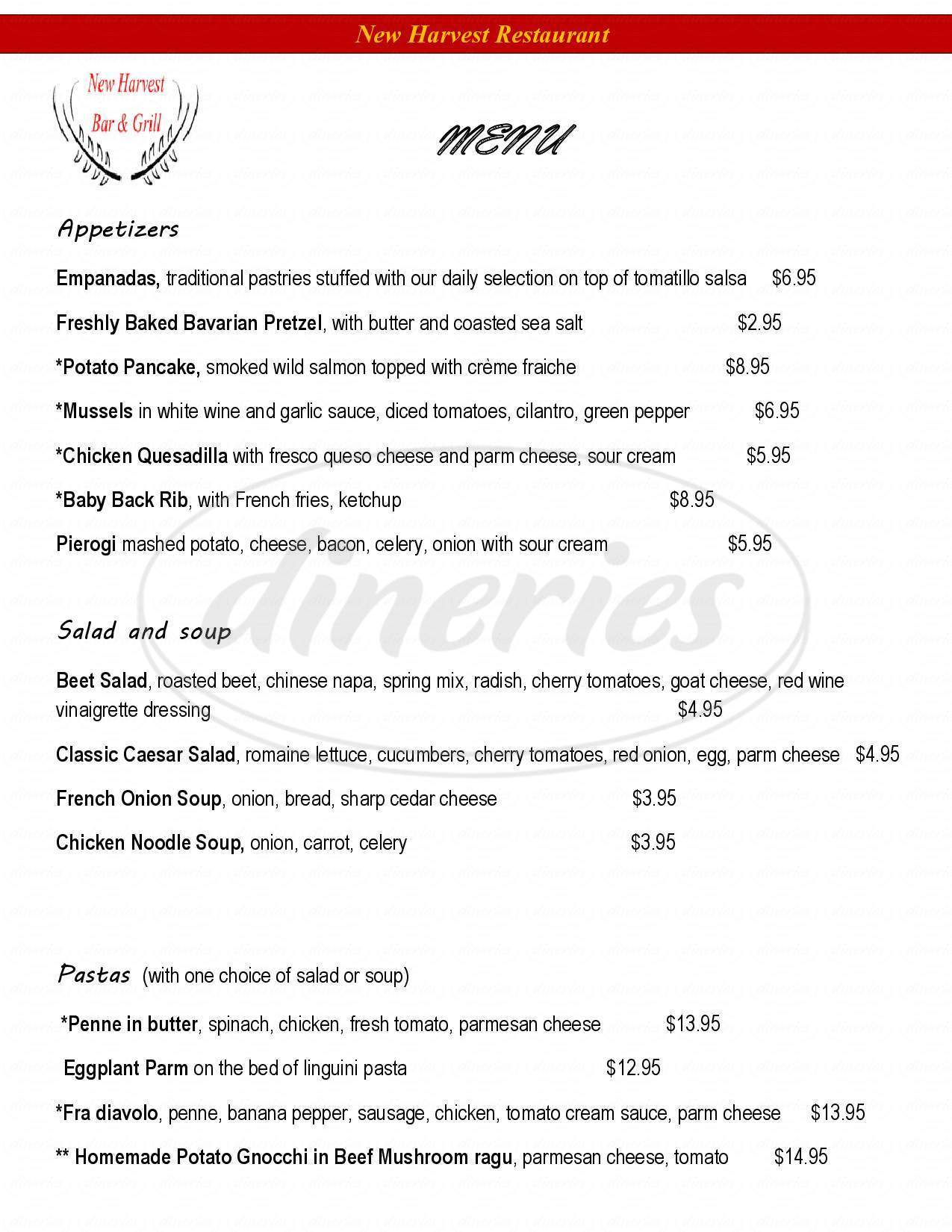 menu for New Harvest Restaurant