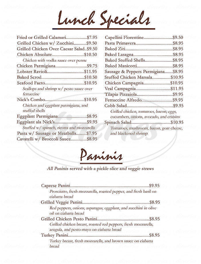 menu for Nick's Restaurant and Catering