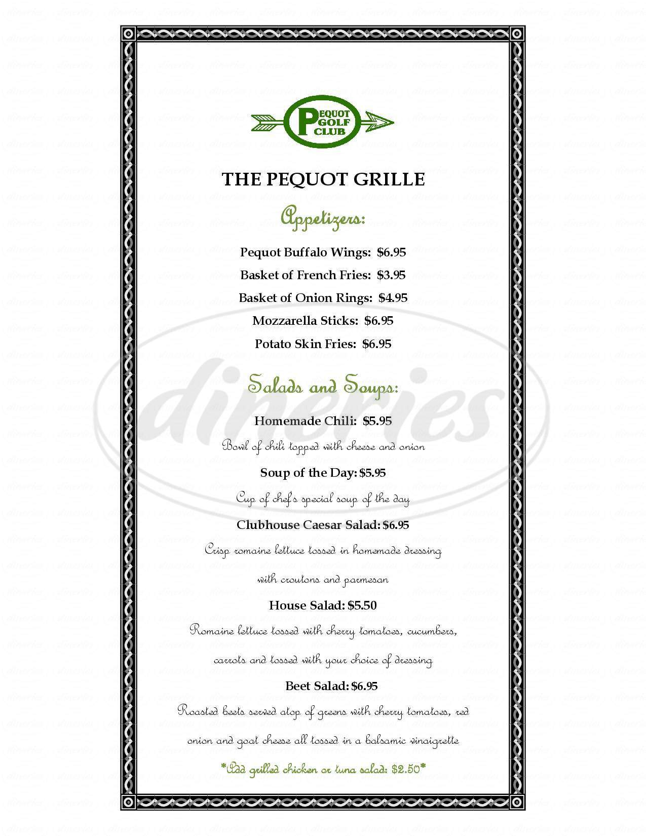 menu for The Grille At Pequot
