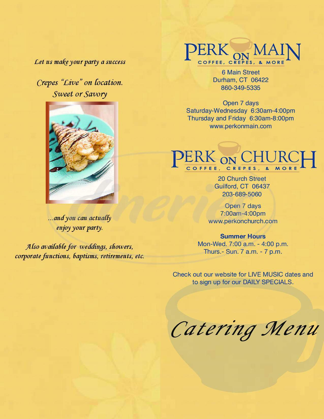 menu for Perk on Church